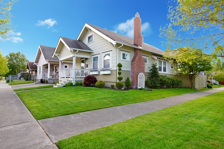 Beautiful Spring American small house exterior.