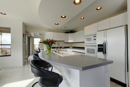 black appliances: Modern kitchen interior with white storage combination and appliances. Room decorated with fresh tulips.