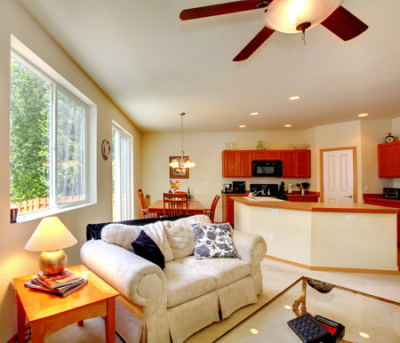 open floor plan: Open floor plan. Living room with dining area and kitchen.