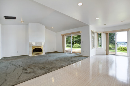 open plan: House open floor plan.. Bright empty living room with fireplace in gold and olive carpet floor. View of shiny hardwood floor.
