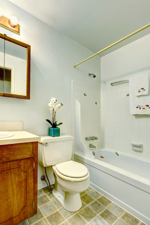 White small bathroom with bathroom vanity cabinet, toilet and tub Stock Photo - 29040454