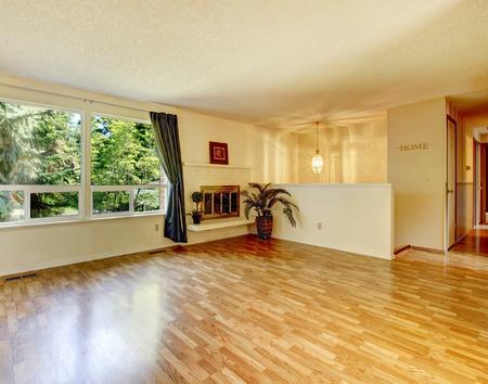 shiny floor: Empty soft colors empty living room with shiny hardwood floor and wide window.
