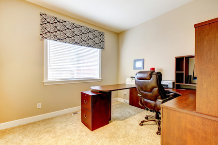 designer chair: Office room with  table set and leather whirlpool chair