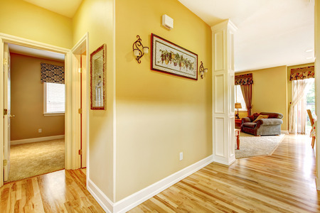 shiny floor: House interior. Hallway with shiny new hardwood floor and soft ivory walls. View of bedroom and living room