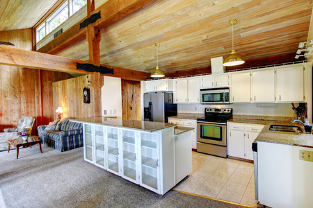 Log cabin house inteior. View of white kitchen room with steel appliances and living room photo