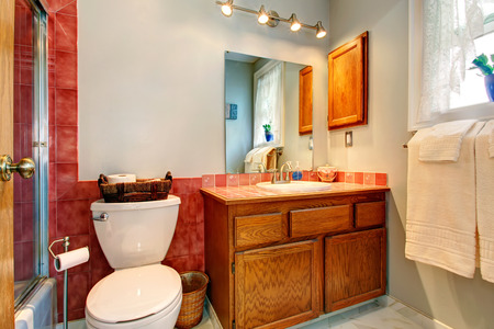 bathroom design: Bathroom with red tile wall trim, old wooden cabinet and white toilet Stock Photo