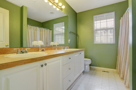 Green bathroom with white bathroom vanity cabinet and large mirror photo
