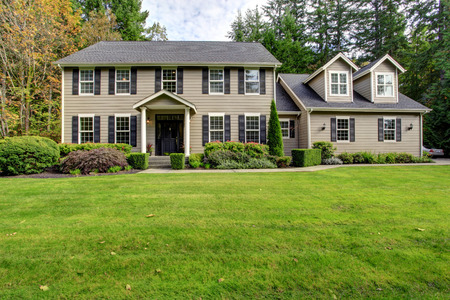 front house: Large american classic house with column porch and walkway