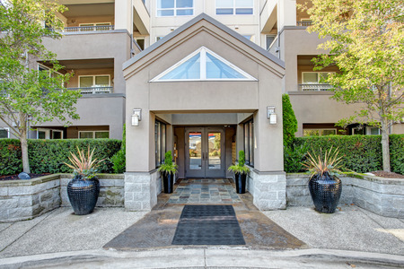 Residential building entrance. Park Avenue apartment complex