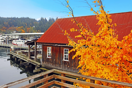 gig harbor: Old wooden house with water front view. View of private boats. Gig Harbor. Pacific Northwest.