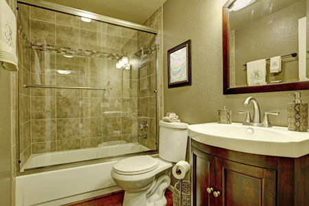 Bathroom interior in olive tones. View of glass screened shower and burgundy bathroom vanity cabinet with mirror