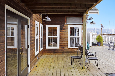gig: Wooden house with backyard and water front view. Gig Harbor. Stock Photo