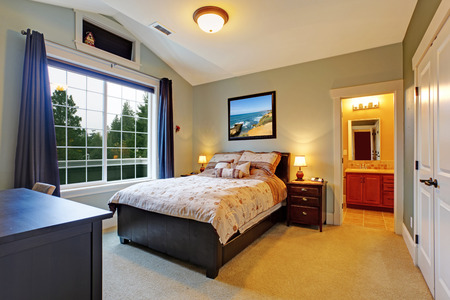 master bedroom: Master bedroom interior with big french window, vaulted ceiling and bathroom.