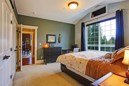 master bedroom: Master bedroom interior with big french window and vaulted ceiling, Stock Photo