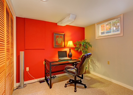 Small Office Room With Contrast Red Wall, Beige Carpet Floor.. Stock ...