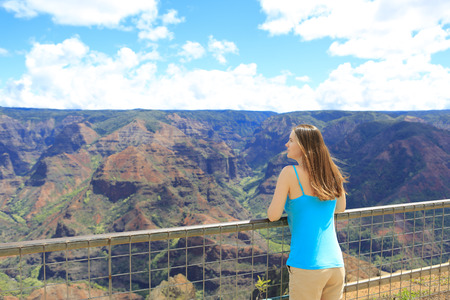 priceless: Young pretty woman enjoying priceless moments in her life. Amazing view of Waimer Canyon, Hawaiian islands Stock Photo