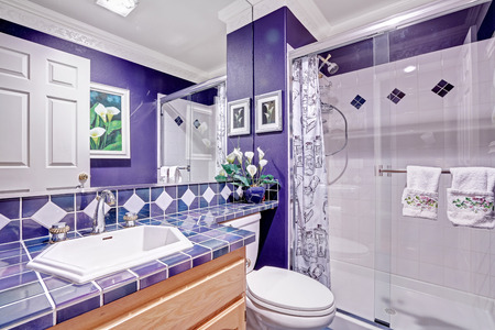bathroom mirror: Bright purple bathroom with tile wall trim and glass door shower Stock Photo