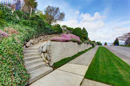 curb appeal: View of house entrance stairs and curb appeal.