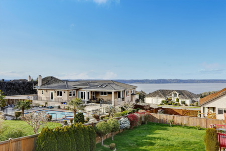 bay area: Beautiful view from house walkout deck. View of bay and fenced backyard