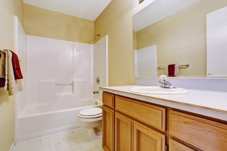 bathroom design: Empty bathroom interior in soft ivory with white bath tub and honey bathroom vanity cabinet Stock Photo
