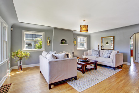 grey rug: Light grey living rom with hardwood floor and rug. Furnished with white sofas and wooden coffee table