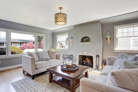 나무 바닥과 러그와 라이트 그레이 생활 롬. 흰색 소파와 나무 커피 테이블 가구 스톡 콘텐츠
