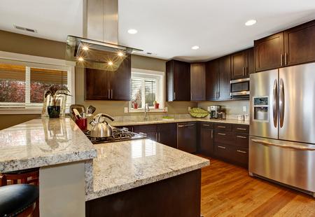appliances: Dark brown kitchen room with steel appliances and hardwood floor Stock Photo