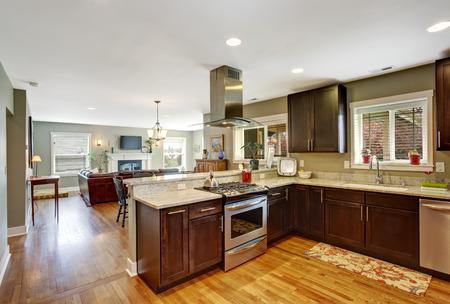 Dark brown kitchen room with steel appliances and hardwood floor Stock Photo