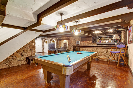 pool table: Entertainment room  with pool table  Castle theme design Stock Photo