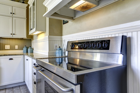 appliance: Kitchen interior with white plank paneled wall  Close up view of modern stove with flat top