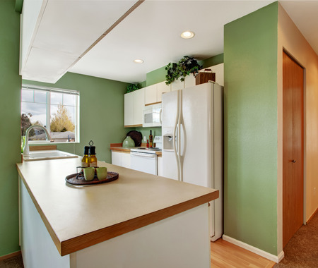 appliances: Soft mint kitchen interior with white cabinets and appliances