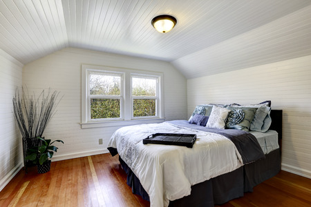 Bedroom with wood plank paneled walls and ceiling. View of black queen size bed and dry branches in the corner Banque d'images