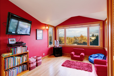 Bright red room with red small chairs, rug and tv photo