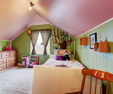 kids room: Kids room with vaulted ceiling in contrast green and pink colors.