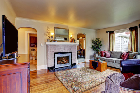 Living room interior with sofa and tv. View of fireplace photo