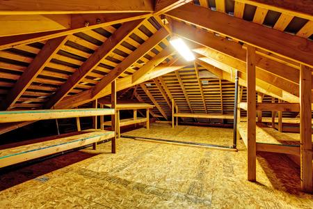 ストレージ棚と空の家の屋根裏部屋のインテリア