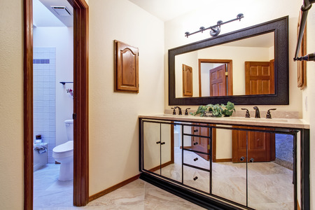 Luxury bathroom vanity cabinet with mirror photo