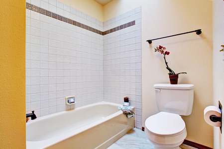 bathroom wall: Empty bathroom with tile wall trim, bath tub and toilet Stock Photo