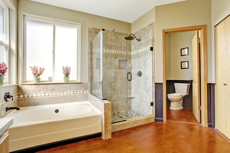 Bathroom interior with white bath tub, glass door shower and toilet Imagens