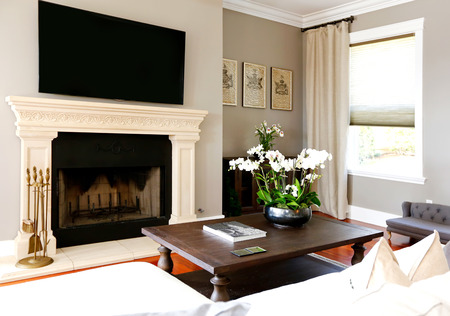 fireplace living room: Bright luxury living room  with black coffee table, fireplace and tv