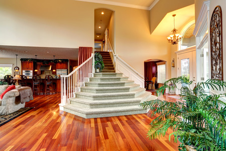 foyer: Luxury house interior with high ceiling  Spacious foyer with beautiful staircase