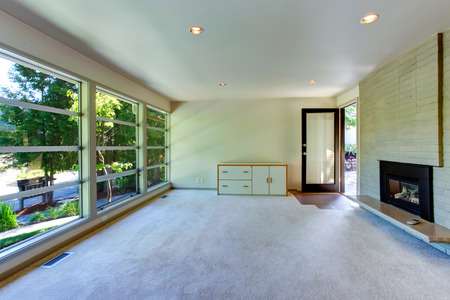Living Room With Glass Wall. View Of Brick Wall With Fireplace Part 64