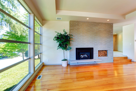 Living Room With Glass Wall. View Of Brick Wall With Fireplace Part 67