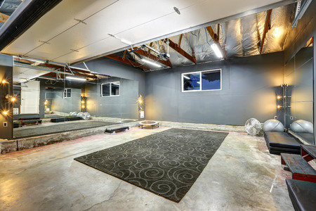 Large basement gym with mirror and rug
