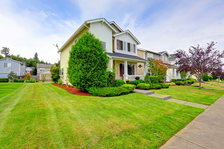 curb appeal: Classic american house exterior entrance porch and curb appeal