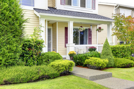 Classic american house exterior entrance porch and curb appeal