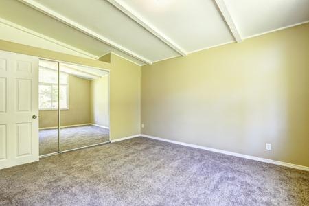 closet door: Soft ivory room with light brown carpet floor and mirror door closet Stock Photo