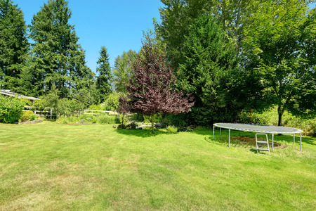 fenced: Green fenced backyard with trampoline. Countryside lanscape during summer time