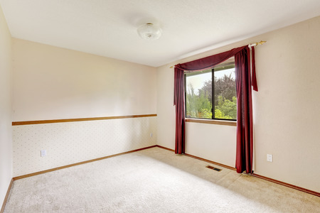 white trim: Brigh white empty room with burgundy curtains and soft carpet floor