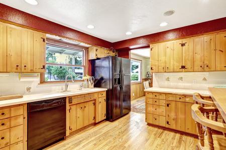 black appliances: Colori a contrasto camera cucina con pavimento in legno ed elettrodomestici neri Archivio Fotografico